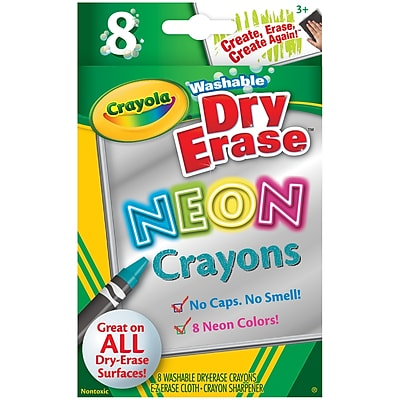 Crayola Wash Dry Erase Crayons 8pk Neon Colors. Sold as a set of 6, each pack has 8 markers for a total of 48 (BIN988605) 23976764