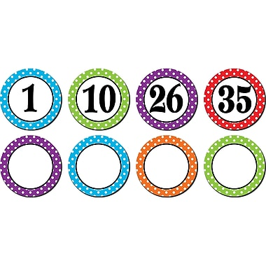 Teacher Created Resource Polka Dots Numbers Magnetic Accents, Assorted Colors, 2.25