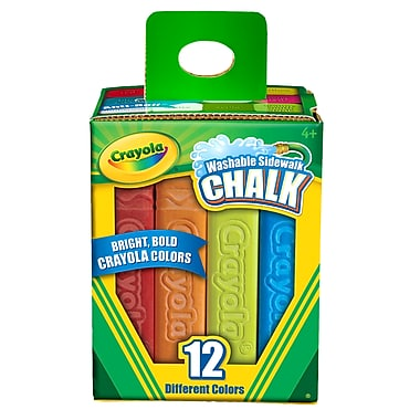 Crayola Washable Sidewalk Chalk, Assorted, 12 CT per box, 8 boxes per bundle, total 96 pieces (BIN512012)