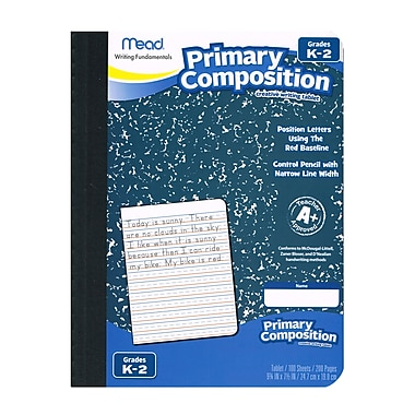 Primary Composition Book Full Page, Wide Ruled 100ct, White Sheets, 1 Subject, Sold as a Set of 12 (MEA09902)