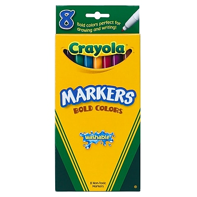 Washable Markers 8ct Bold Colors Fine Tip, Assorted Colors. Sold as a set of 6. Each set has 8 crayons for a total of 48 23976756