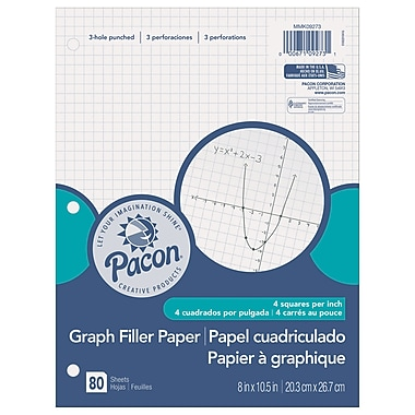 Pacon Graph Paper 1/4in Grid Ruling, White, 80 shts per pack, 12 packs per bundle, 960 sheets total (PACMMK09273)