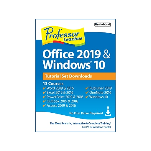 Individual Software Professor Teaches Office 2019 & Windows 10 for 1 User,  Windows, Download (PDB-O19S)