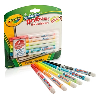 Crayola Washable Dry Erase Markers, 6 Colors Per Box, Bundle of 4 Boxes (BIN985906)