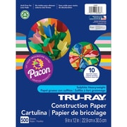"Pacon Corporation Tru Ray Construction Paper, 9"" x 12"", Assorted, 500/Ream (PAC6588)"