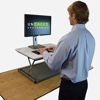 uncaged ergonomics changedesk mini affordable adjustable height laptop desktop standing desk conversion white cdmm