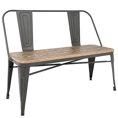 Lumisource Oregon Bench in Grey and Brown (BC-OR GY+BN)