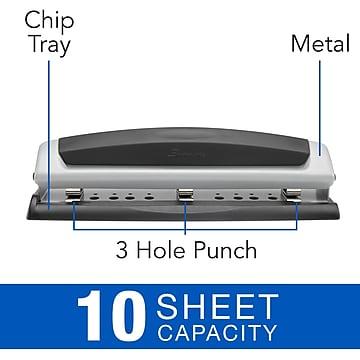 Swingline® Precision Pro® Desktop 2-3-Hole Punch, Adjustable Centers, 10 Sheet Capacity, Black/Silver (A7074037)