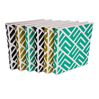 Fasion Design 3 Ring Binder, Maze Print, 1 Inch Round Rings, 6 Pack