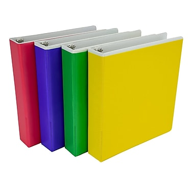 Fashion Color Pocket, 1.5 Inch Round Rings, 3 Ring Binder, 4 Pack