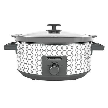 Black & Decker™ 7 qt Slow Cooker, White/Gray Geometric Print (SC1007D)