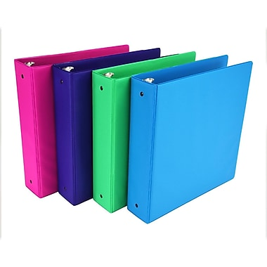Fashion Color 3 Ring Storage Binder, 2 inch Round Ring, Assorted 4 Pack