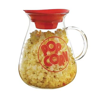 Epoca 3 qt Micro Pop Glass Popcorn Popper, Clear/Red (EKPCM-0025)