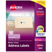 """Avery Matte Clear Address Labels, Sure Feed Technology, Laser, 1"""" x 2-5/8"""", 1,500 Labels (5660)"""