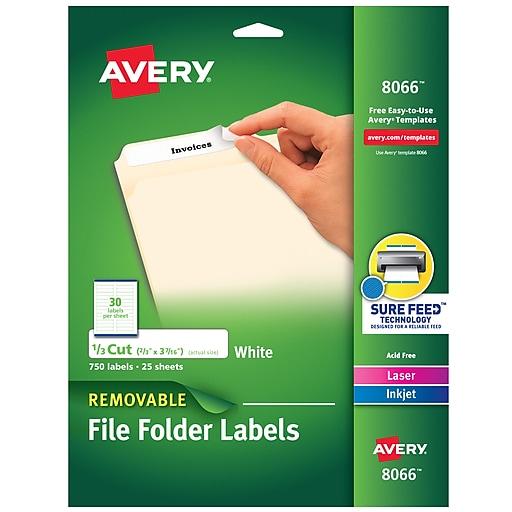 "Avery Removable Inkjet File Folder Labels, 2/3"" x 3 7/16"", White, 30 Labels/Sheet, 25 Sheets/Pack (8066)"