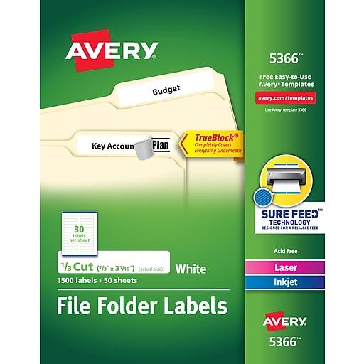 Avery TrueBlock Laser/Inkjet File Folder Labels, 2/3