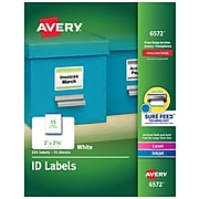 Avery® Laser Permanent Durable ID Label with TrueBlock® Technology, White, 225/Pack (06572)