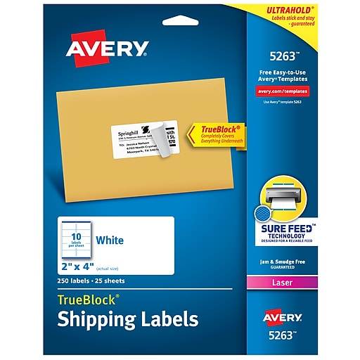 Avery TrueBlock Laser Shipping Labels, Sure Feed Technology, White, 10/Per  Sheet, 250/Pack (05263)