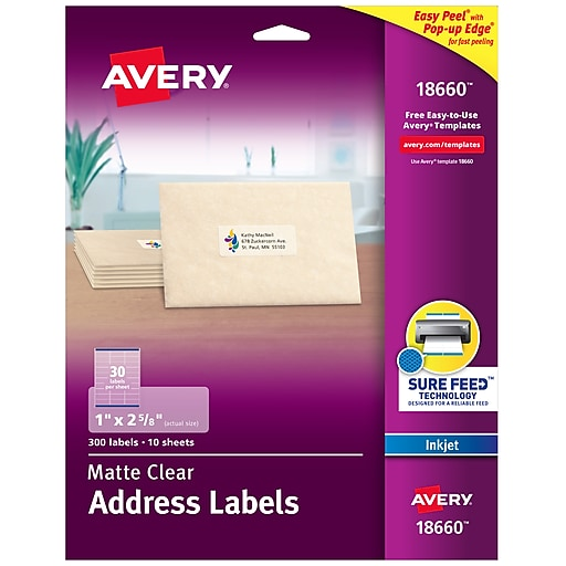"Avery Matte Clear Address Labels, Sure Feed Technology, Inkjet, 1"" x 2-5/8"", 300 Labels/Pack (18660)"