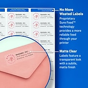 """Avery Inkjet Address Labels, Sure Feed Technology, 1"""" x 2 5/8"""", Matte Clear, 300 Labels Per Pack (18660)"""