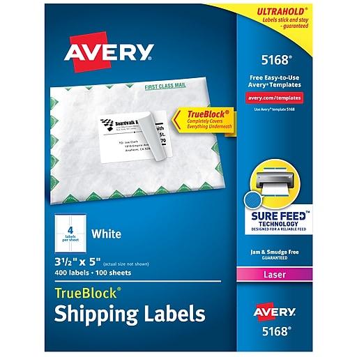 Avery TrueBlock Laser Shipping Labels, Sure Feed Technology, 3 5
