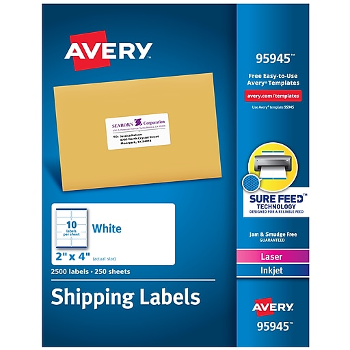 "Avery Laser/InkJet Shipping Labels with Sure Feed Technology, 2"" x 4"", White, 2500 Labels/Pack (95945)"