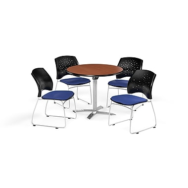 OFM 36 Inch Round Flip Top Cherry Table and Four Royal Blue Chairs (PKG-BRK-165-0010)