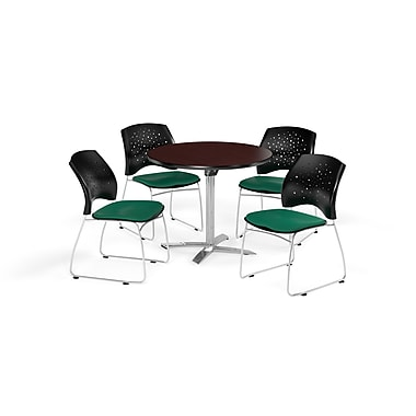 OFM 36 Inch Round Flip Top Mahogany Table and Four Shamrock Green Chairs (PKG-BRK-165-0033)