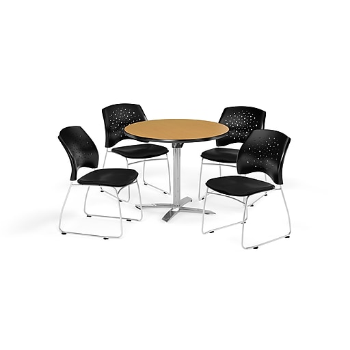 OFM 36 Inch Round Flip Top Oak Table and Four Black Chairs (PKG-BRK-165-0064)