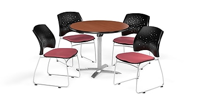 OFM 36 Inch Round Flip Top Cherry Table and Four Coral Pink Chairs (PKG-BRK-165-0008)