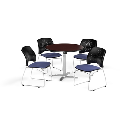 OFM 36 Inch Round Flip Top Mahogany Table and Four Colonial Blue Chairs (PKG-BRK-165-0036)