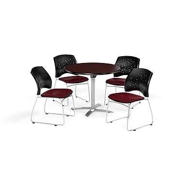 OFM 36 Inch Round Flip Top Mahogany Table and Four Burgundy Chairs (PKG-BRK-165-0043)