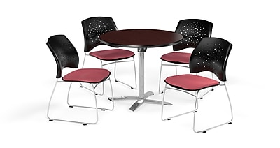 OFM 36 Inch Round Flip Top Mahogany Table and Four Coral Pink Chairs (PKG-BRK-165-0040)