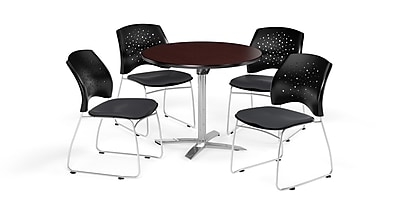 OFM 36 Inch Round Flip Top Mahogany Table and Four Slate Gray Chairs (PKG-BRK-165-0044)