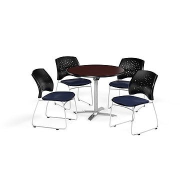 OFM 36 Inch Round Flip Top Mahogany Table and Four Navy Chairs (PKG-BRK-165-0035)