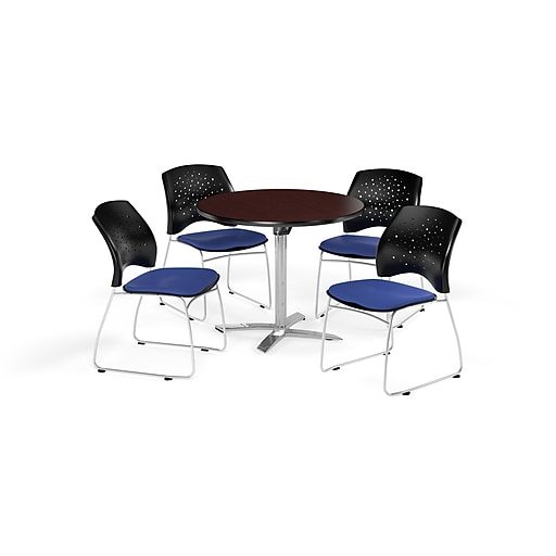 OFM 36 Inch Round Flip Top Mahogany Table and Four Royal Blue Chairs (PKG-BRK-165-0042)