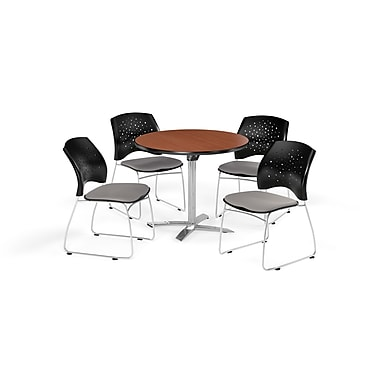 OFM 36 Inch Round Flip Top Cherry Table and Four Putty Chairs (PKG-BRK-165-0014)