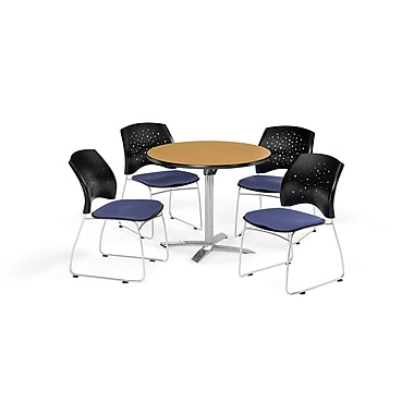 OFM 36 Inch Round Flip Top Oak Table and Four Colonial Blue Chairs (PKG-BRK-165-0052)