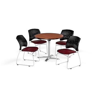 OFM 36 Inch Round Flip Top Cherry Table and Four Burgundy Chairs (PKG-BRK-165-0011)