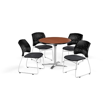 OFM 36 Inch Round Flip Top Cherry Table and Four Slate Gray Chairs (PKG-BRK-165-0012)