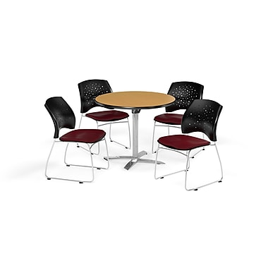 OFM 36 Inch Round Flip Top Oak Table and Four Burgundy Chairs (PKG-BRK-165-0059)