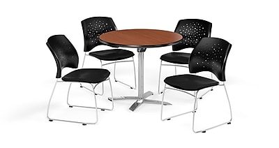 OFM 36 Inch Round Flip Top Cherry Table and Four Black Chairs (PKG-BRK-165-0016)