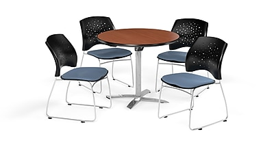 OFM 36 Inch Round Flip Top Cherry Table and Four Cornflower Blue Chairs (PKG-BRK-165-0006)