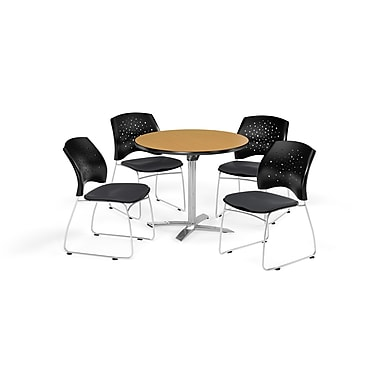 OFM 36 Inch Round Flip Top Oak Table and Four Slate Gray Chairs (PKG-BRK-165-0060)