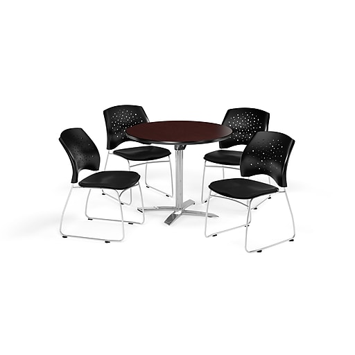OFM 36 Inch Round Flip Top Mahogany Table and Four Black Chairs (PKG-BRK-165-0048)