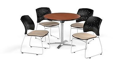 OFM 36 Inch Round Flip Top Cherry Table and Four Khaki Chairs (PKG-BRK-165-0009)