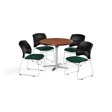OFM 36 Inch Round Flip Top Cherry Table and Four Forest Green Chairs (PKG-BRK-165-0015)