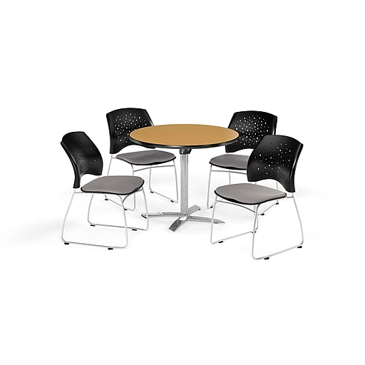 OFM 36 Inch Round Flip Top Oak Table and Four Putty Chairs (PKG-BRK-165-0062)