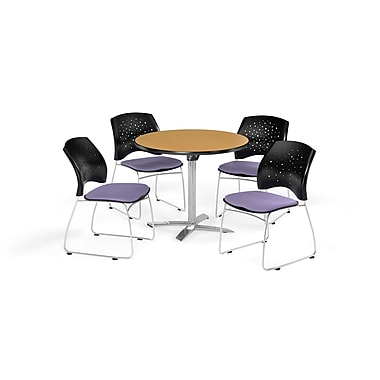 OFM 36 Inch Round Flip Top Oak Table and Four Lavender Chairs (PKG-BRK-165-0050)