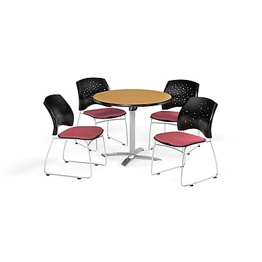 OFM 36 Inch Round Flip Top Oak Table and Four Coral Pink Chairs (PKG-BRK-165-0056)